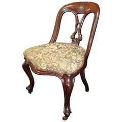 Fine 19th Century Carved Mahogany Upholstered Library Chair