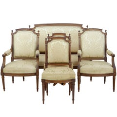 Fine 19th Century Carved Walnut French Five-Piece Salon Suite