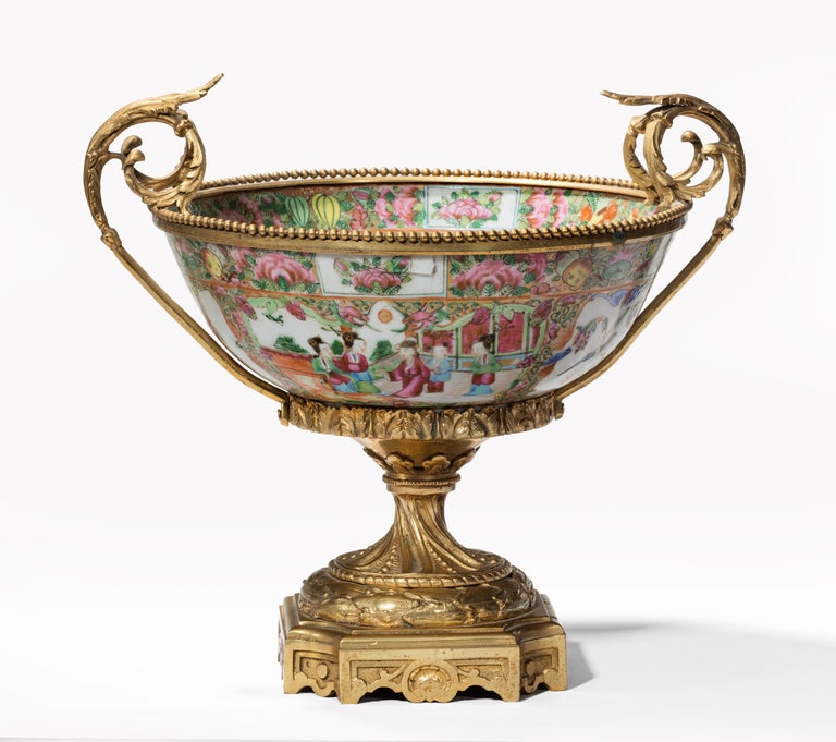 Chinese Export Fine 19th Century Chinese Gilt Mounted Canton Centrepiece For Sale