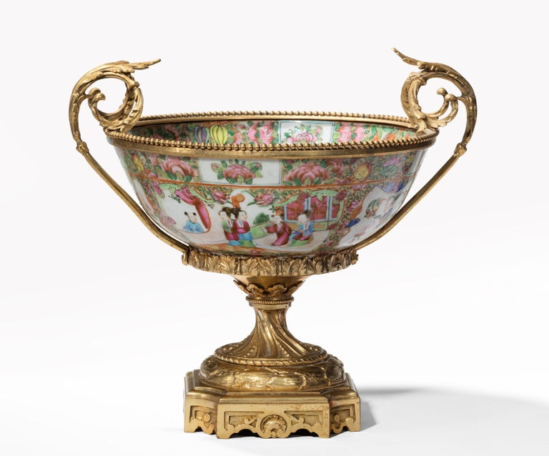 Bronze Fine 19th Century Chinese Gilt Mounted Canton Centrepiece For Sale