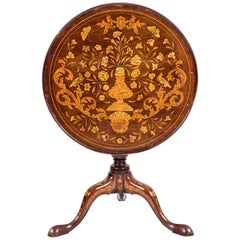 Fine 19th Century Dutch Marquetry Tilt-Top Table