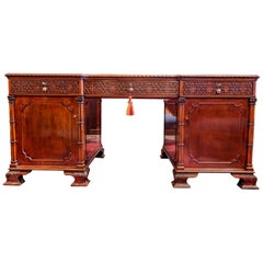 Fine 19th Century English Chinese Chippendale Mahogany Partners Desk