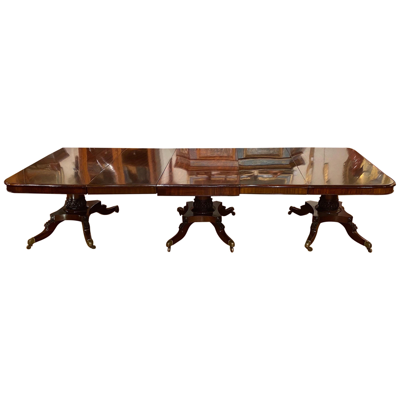 Fine 19th Century English Regency Mahogany Triple Pedestal Dining Table