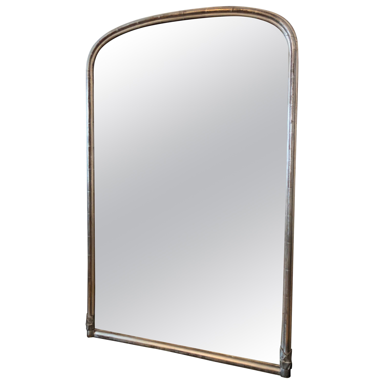 Fine 19th Century English Silver Giltwood Arch Top Mirror