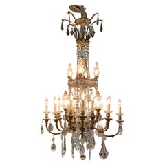 Fine 19th Century French Gilt Bronze and Crystal 20-Light Chandelier