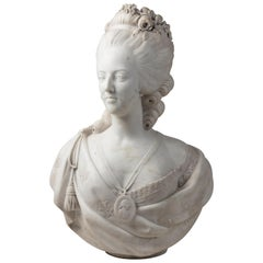 Fine 19th Century French Louis VXI Carrara Marble Bust of Marie Antoinette
