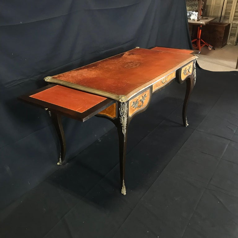 Fine 19th Century French Louis XV Bronze Mounted Kingwood & Walnut Writing Desk For Sale 10