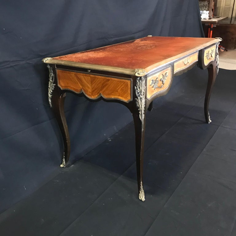 Fine 19th Century French Louis XV Bronze Mounted Kingwood & Walnut Writing Desk For Sale 5