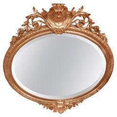 Fine 19th Century French Louis XV Water Gilt Carved Large Oval Mirror