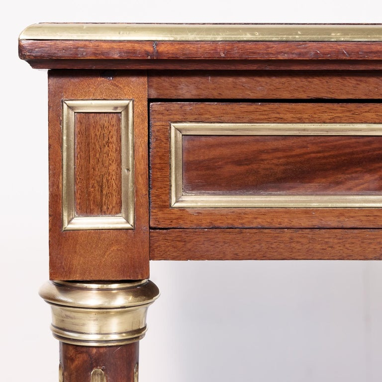 Fine 19th Century French Louis XVI Style Desk with Leather Top and Brass Accents For Sale 8