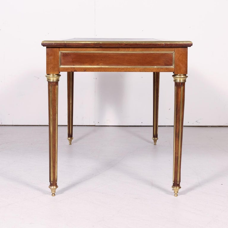 Fine 19th Century French Louis XVI Style Desk with Leather Top and Brass Accents For Sale 12