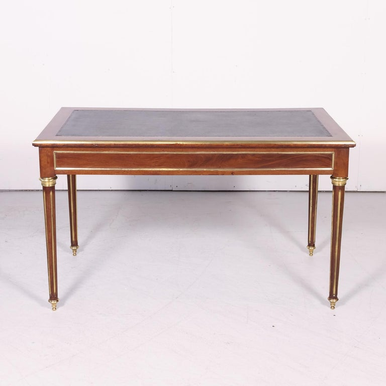 Fine 19th Century French Louis XVI Style Desk with Leather Top and Brass Accents For Sale 13