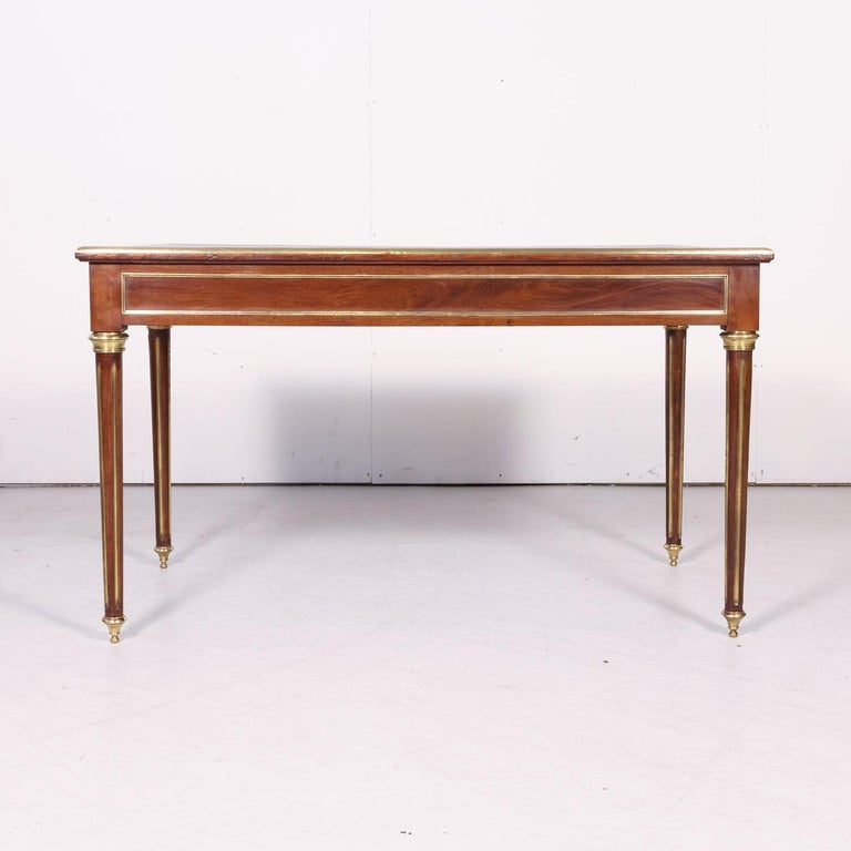 Fine 19th Century French Louis XVI Style Desk with Leather Top and Brass Accents For Sale 14