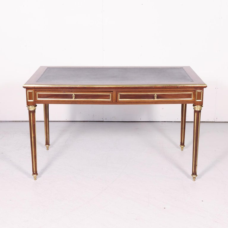 Fine 19th Century French Louis XVI Style Desk with Leather Top and Brass Accents In Good Condition For Sale In Birmingham, AL