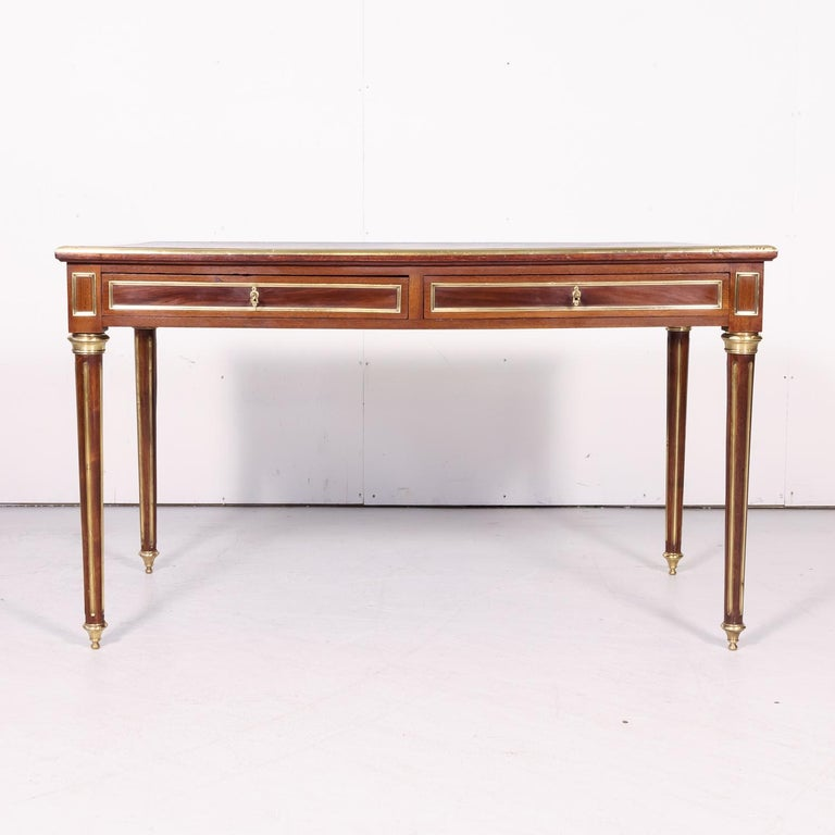 Fine 19th Century French Louis XVI Style Desk with Leather Top and Brass Accents For Sale 1