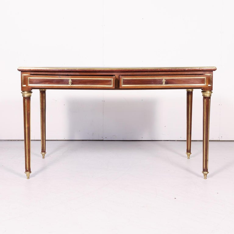 Fine 19th Century French Louis XVI Style Desk with Leather Top and Brass Accents For Sale 4