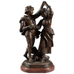French Patinated Bronze dancing group by Jean Didier Début