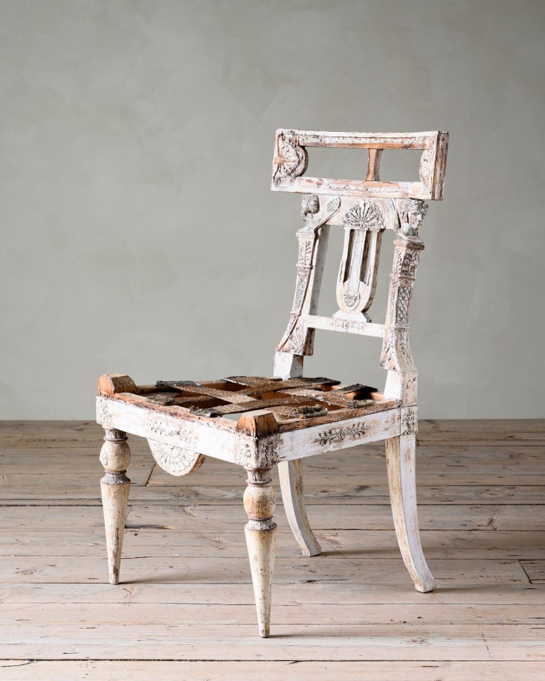 Significant early 19th century Gustavian chair in its original condition attributed to Ephraim Sthal (1767-1820) in cooperation with Architect Carl Christoffer Gjörwell (1766-1837).