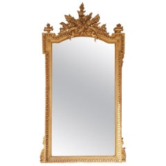 Fine 19th Century Large French Louis XVI Gilt Carved Mirror