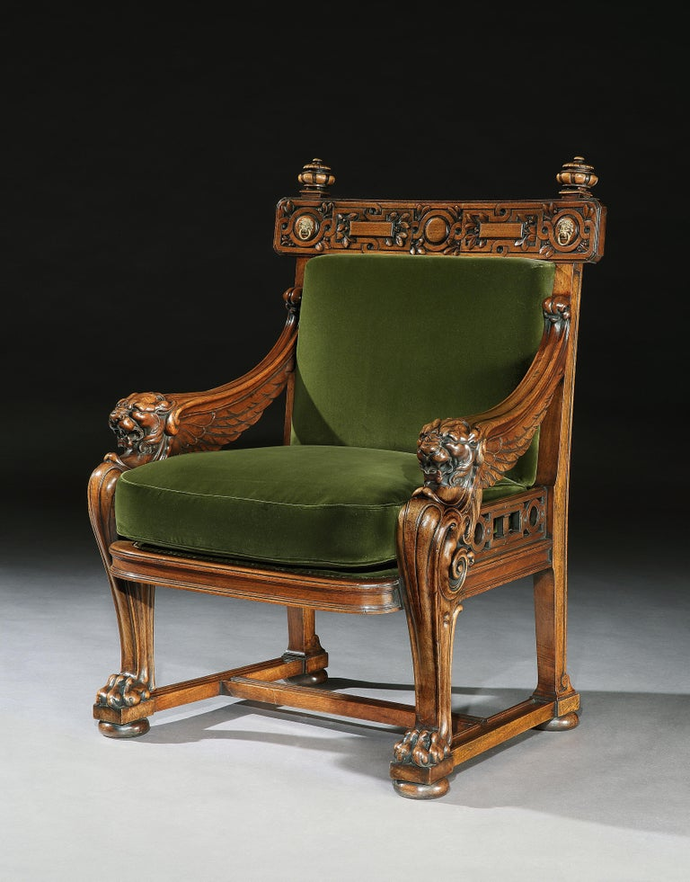 Regency Fine 19th Century Lion Monopodia Armchair After Thomas Hope For Sale