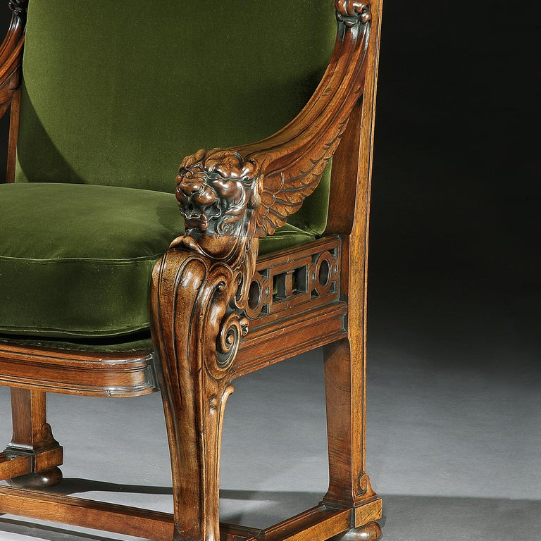 English Fine 19th Century Lion Monopodia Armchair After Thomas Hope For Sale