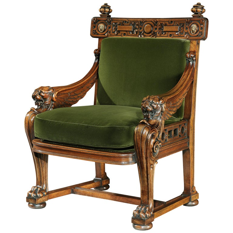 Fine 19th Century Lion Monopodia Armchair After Thomas Hope For Sale