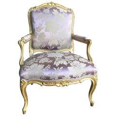 Fine 19th Century Louis XV Giltwood Armchair