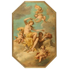 "Fine 19th Century Oil on Canvas ""Triumph of Flora"" Attr. Ferdinand Wagner II"