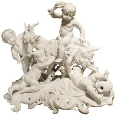 Fine 19th Century Porcelain Capodimonte Group of Cherubs and a Goat