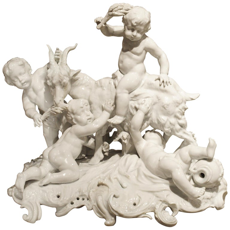 Fine 19th Century Porcelain Capodimonte Group of Cherubs and a Goat For Sale