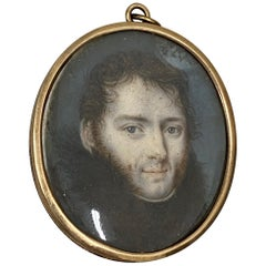 19th Century Portrait Miniature of a Young Man with Fur Collar