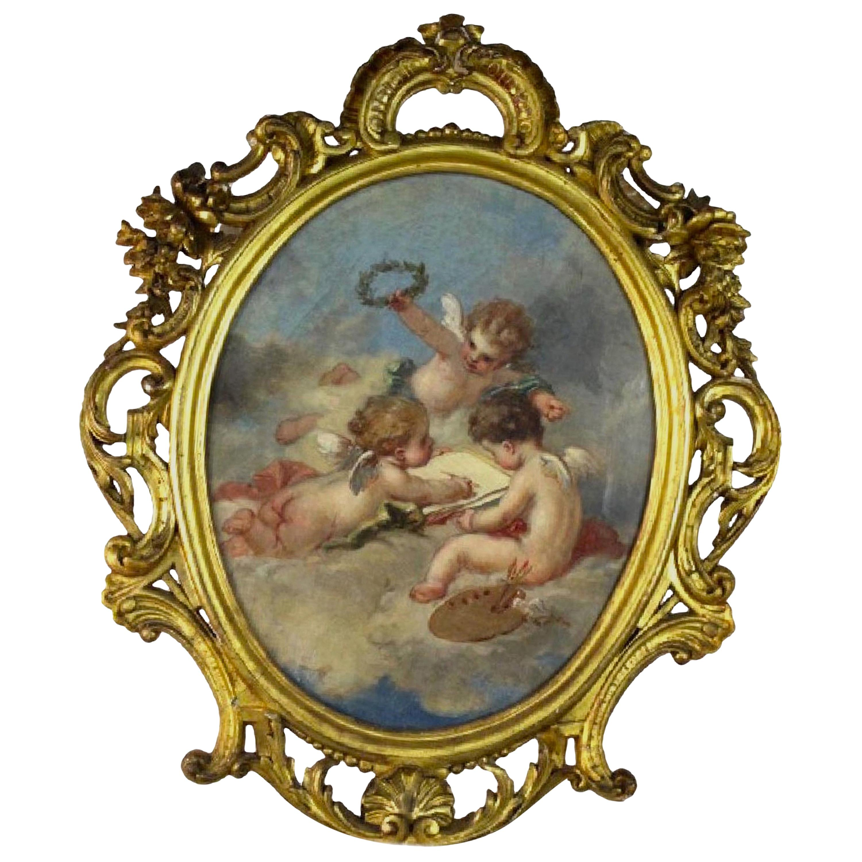 Fine 19th Century Putti Allegory of the Arts, after Francois Boucher