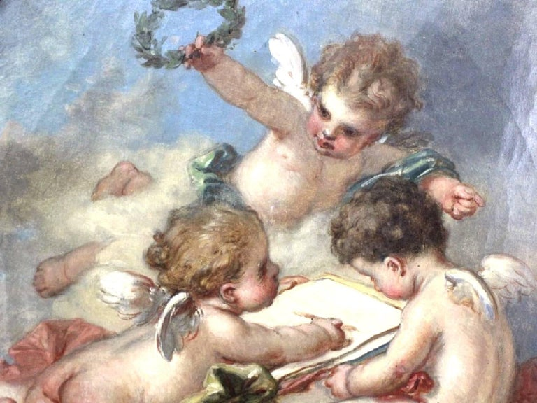 Louis XVI Fine 19th Century Putti Allegory of the Arts, after Francois Boucher For Sale