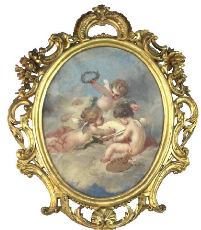 French Fine 19th Century Putti Allegory of the Arts, after Francois Boucher For Sale