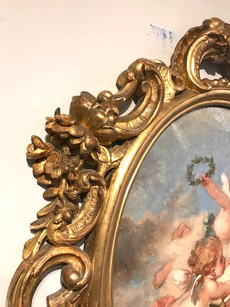 Carved Fine 19th Century Putti Allegory of the Arts, after Francois Boucher For Sale
