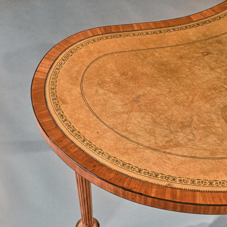 Fine 19th Century Satinwood Kidney Shape Side Writing Table For Sale 7