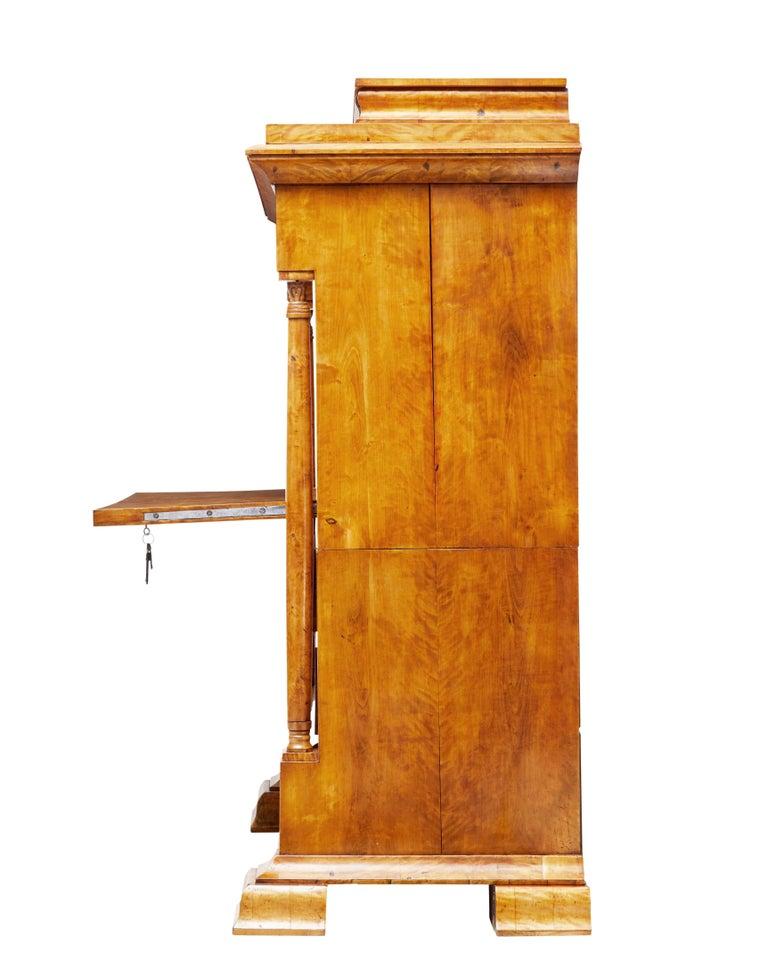 Fine 19th Century Swedish Birch Architectural Secretaire Desk For Sale 5