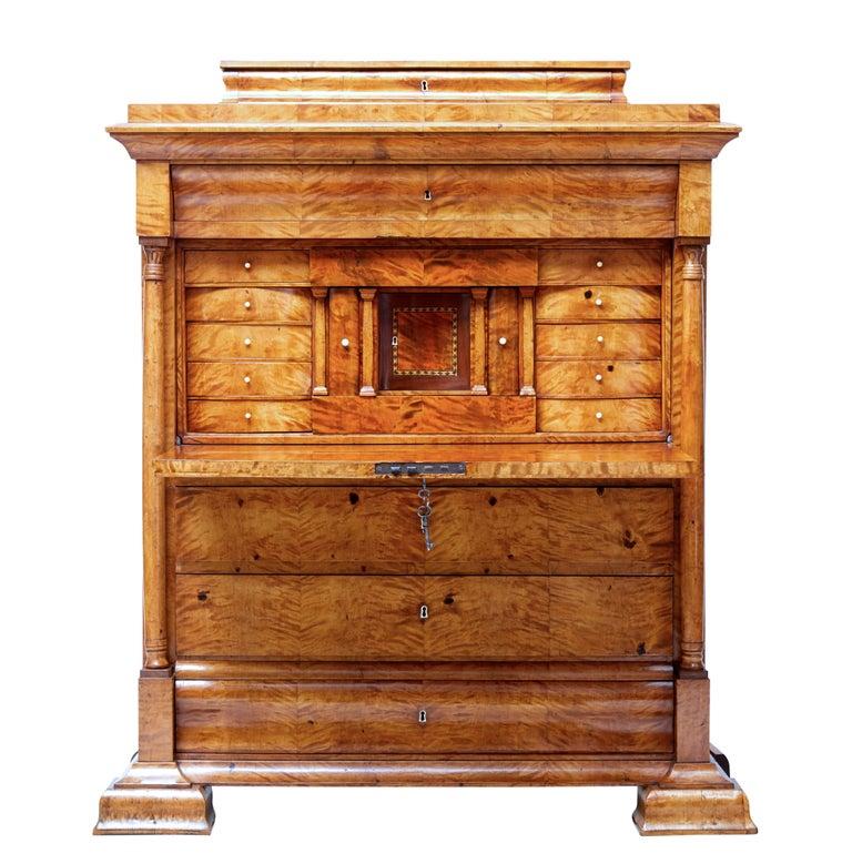 Fine 19th Century Swedish Birch Architectural Secretaire Desk For Sale 6