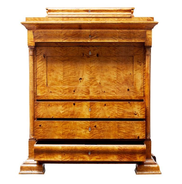 Empire Fine 19th Century Swedish Birch Architectural Secretaire Desk For Sale