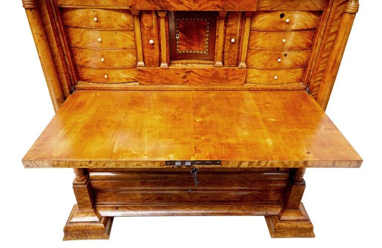 Fine 19th Century Swedish Birch Architectural Secretaire Desk In Good Condition For Sale In Debenham, Suffolk