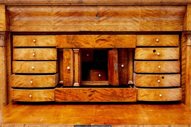 Fine 19th Century Swedish Birch Architectural Secretaire Desk For Sale 1