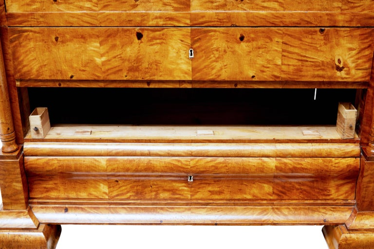 Fine 19th Century Swedish Birch Architectural Secretaire Desk For Sale 2