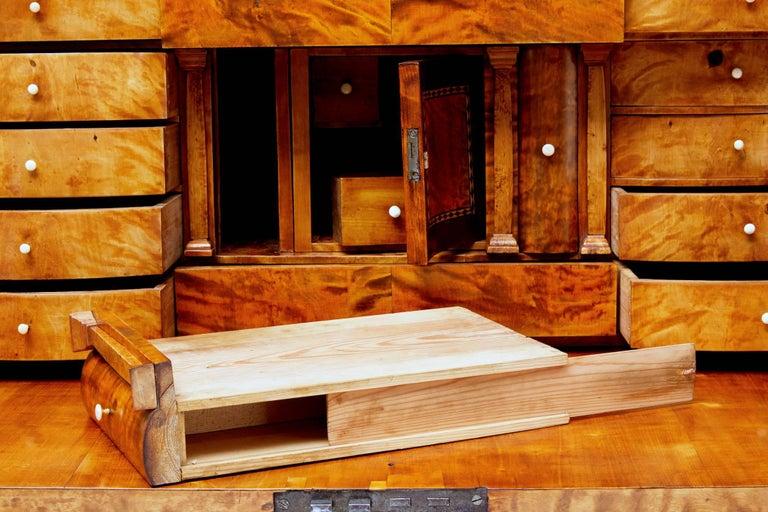 Fine 19th Century Swedish Birch Architectural Secretaire Desk For Sale 3