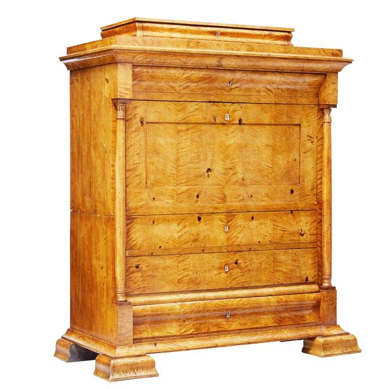 Fine 19th Century Swedish Birch Architectural Secretaire Desk For Sale