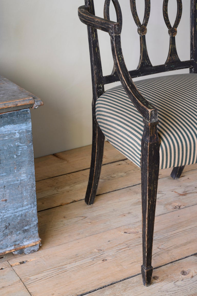 Wood Fine 19th Century Swedish Early Empire Armchair For Sale