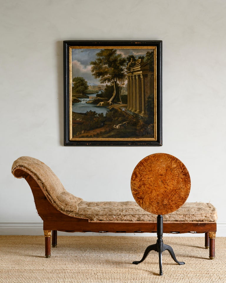 Fine 19th century Swedish mahogany Empire chaise lounge, unupholstered in its original padding, circa 1830.   Good original condition with wear consistent with age and use. Structurally good and sturdy. A detailed condition report is available on