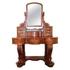 Fine 19th Century Victorian Antique Burr Walnut Dressing Table