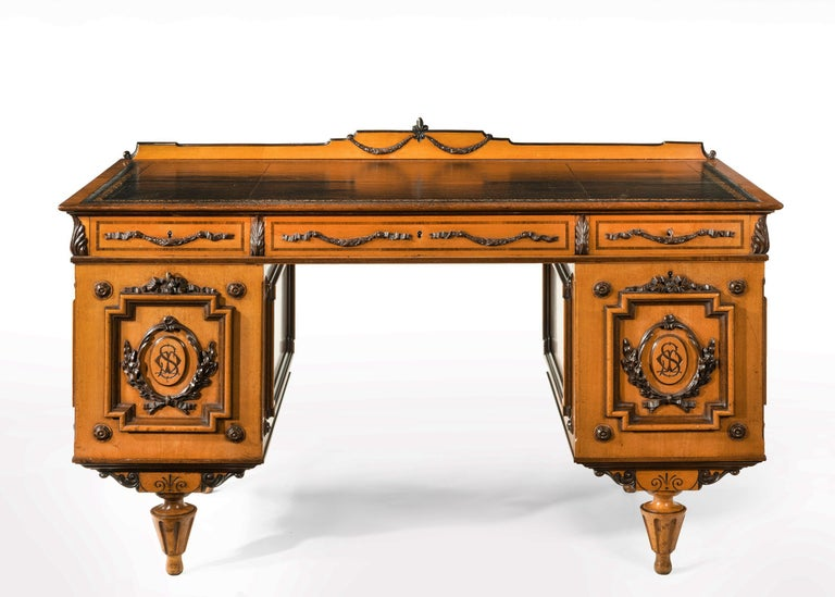 Fine 19th Century Viennese Satin Sycamore Writing Desk For Sale 4