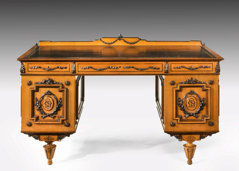 Fine 19th Century Viennese Satin Sycamore Writing Desk For Sale 5