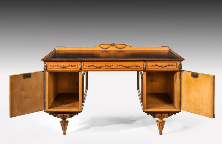 Fine 19th Century Viennese Satin Sycamore Writing Desk For Sale 6